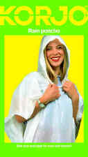 Korjo Adult Raincoat White Waterproof Plastic Rain Poncho Hood Coat Ladies Mens