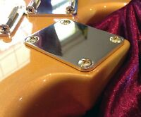 Repro for Stratocaster-Telecaster 2.5mm Neck Plate 100% Solid Brass **No Screws!