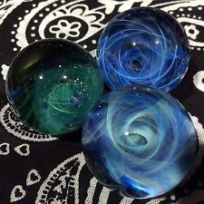 Set of 3 24-25 MM Hand Made Glass Vortex Wave Art Marbles