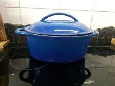 Le Creuset style Vintage Cast Iron Casserole Pot  Oval with lid 35 cm