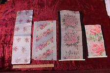 Lot Of 4 Antique French Rose Silk Ribbon Samples c1900~Frame