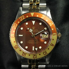 ROLEX GMT MASTER RARE ROOT BEER 40MM REF 1673 SS 18K YELLOW GOLD 1984 WATCH