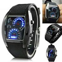 Fashion Mens Black Stainless Steel Luxury LED Sport Analog Quartz Wrist Watch