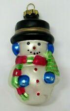 VINTAGE GLASS CHRISTMAS ORNAMENT SNOWMAN W/ CHRISTMAS TREE