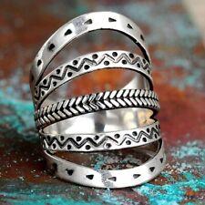 Boho Ring Sterling Silver 925 Women Handmade Arrow Statement Long Size 6 7 8 9
