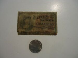 Vintage 1860's United States Fractional Currency Ten Cents