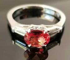 Rare Red Orange Sapphire Baguette VS Diamond Platinum ring SZ 6.75