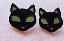 Nuevo Pendientes de Acrílico Grande Gato Negro y Dorado para orejas perforadas Gato amante de los animales