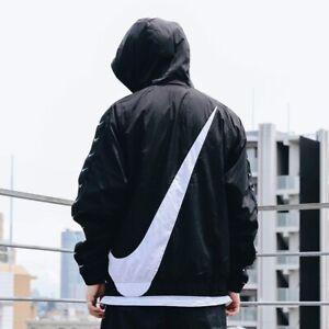 Nike NSW Swoosh Woven Logo  Jacket Black Sportswear Windbreaker $130
