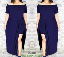 Elegant Plain Off Shouder Plus Size Maxi Dress (Royal Blue)