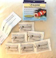 ALGONE AQUARIUM WATER CLARIFIER & NITRATE REMOVER SALT & FRESH 6 POUCHES NEW