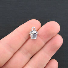 8 Cupcake Charms Charms Antique Silver Tone 3 Dimensional - SC3030
