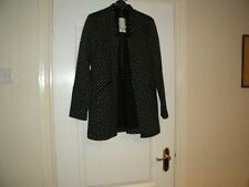 LADIES GEORGE BLACK AND WHITE POLYESTER/ACRYLIC COAT SIZE 8 NEW WITH TAGS