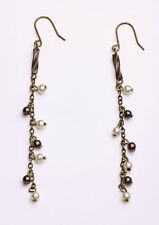 ROMANTIC SUMMER LOOK CHAIN DROP EARRINGS TINY FAUX PEARLS METAL BEADS (ZX29)