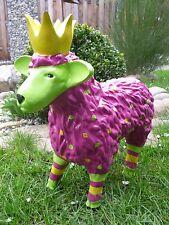 Garten Figur Lustiges Buntes Schaf Lamm mit Krone Deko Tier 48 Breit Brombeer