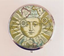 Mystical Sun Pill Box Pillbox Case - Antique Astronomy Image Occult Alchemy