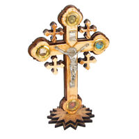Orthodox Wall Crucifix Hand Made Olive Wood on the Stand from the Holy Land 5.5'