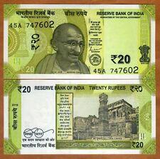 India, 20 Rupees, 2019, P-New, UNC > Gandhi, Redesigned, New Colors