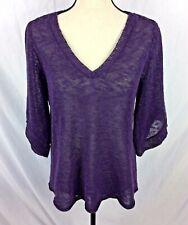 Eileen Fisher Womens Sweater S/MPurple Linen Blend V-Neck 3/4 Sleeves Sheer