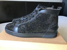 Mens Christian Louboutin Black Leather/Black Swarovski Strass Sneakers Size 42
