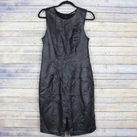 Halogen Black Leather Sleeveless Sheath Dress Front Slit Lined Size 12