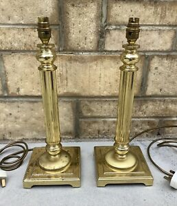 PAIR OF LARGE HEAVY METAL GOLD FINISH BRASS ? COLUMN STYLE TABLE LAMPS