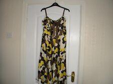 LADIES MONSOON BROWN/YELLOW PRINT THIN STRAP DRESS, SIZE 10, EU 38
