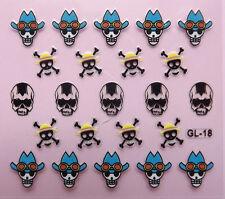 Nail Art 3D Decal Stickers Halloween Cowboy Hat Skull  GL18