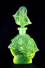 FLOWERS BELL - Art Deco -Signed Perfume Bottle - DESNÁ, uranium/vaseline Colour