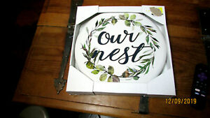 """ROUND METAL WALL SIGN HANGING CHAIN FARMHOUSE GREEN WREATH OUR NEST 12"""" DIAMETER"""