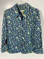 Vtg Appleseed's Women's Blazer Size M Tapestry Floral Jacket Button Blues Green