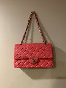 CHANEL 2.55 Classic  Pink Quilted Lambskin Medium Double Flap Bag SHW