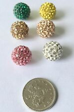 10 x 12mm Shamballa Style Sparkly Rhinestone Round Crystal Clay Beads