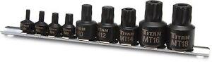 Titan 16138 9pc Impact Grade Stubby XZN Triple Square Bit Socket Set