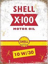 SHELL X-100 MOTOR OIL grandi acciaio segno 400mm x 300mm (OG)