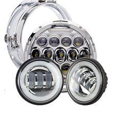 """Pair 4 1/2"""" LED Fog Light Bracket + Headlights Set For Harley Street Glide FLHX"""