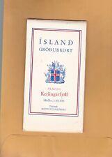 VINTAGE Island of Iceland  Map / ISLAND GRODURKORT   SEE PHOTO