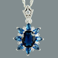 Oval Blue Sapphire 18K White Gold Plated Flower Pendant Necklace Curb Chain