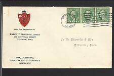 OTTUMWA, IOWA, 1932 COIL STRIP OF THREE, ADVT ROYAL INSURANCE CO.VF.