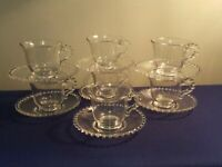 "Crystal Clear Imperial Glass Co ""Candlewick"" Cup & Saucer 400/35 FL Set 2 1/8"""
