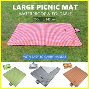 Waterproof Picnic Blanket Soft Rug Mat Outdoor Camping Beach Foldable 200x145cm