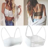 Sexy Hollow Backless Bralet Straps Crop Pad Chest Bra Midriff Top Vest