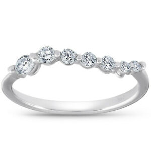 Women's 1/2ct Diamond Journey Ring Solid 14K White Gold