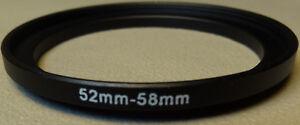 52mm to 58mm Step Up Lens Filter Ring Metal DSLR SLR Digital Camera Adapter