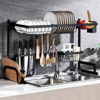 Stainless Steel Kitchen Shelf Plate Dish Rack Drying Drain Storage Towel Holder