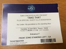 TAKE THAT Souvenir Ticket O2 Arena 09/06/15  Floor Standing Ent F Ella Henderson
