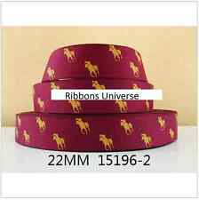 "1 meter, 22mm 7/8"" Polo Horse and Rider Grosgrain Ribbon Gift Birthday Craft"