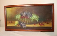 vintage original painted still life fruit basket realism oil painting on canvas