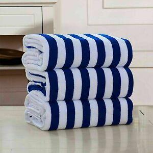 Luxury Pool Towels 100% Cotton Beach Towel Soft Stripe Swimming Bath Sheet Pack