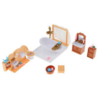 1/12 Scale Dollhouse Miniature Bathroom Furniture Bathtub Basin Toilet Set